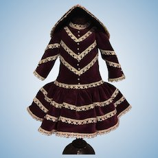 Velvet Dress and Bonnet for Bisque Dolls