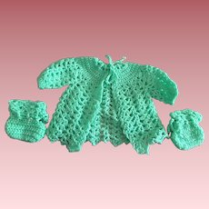 Green Sweater with Matching Booties for Baby Dolls