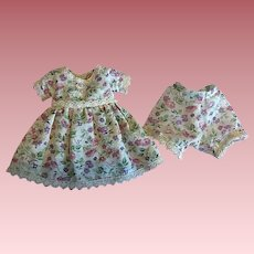 Floral Print Dress with Matching Undies for Hard Plastic and Composition 1940s
