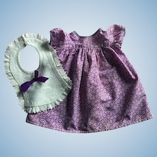 Purple Print Dress and Bib for Baby Dolls 1950s