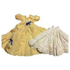 Yellow Taffeta Doll Ballgown and Slip 1950s