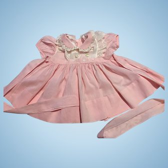Pink and White Dress for Small Playpals 1950s