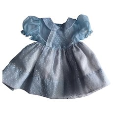 Blue Dotted Swiss Nylon Dress for Chubby Toddlers 1950s