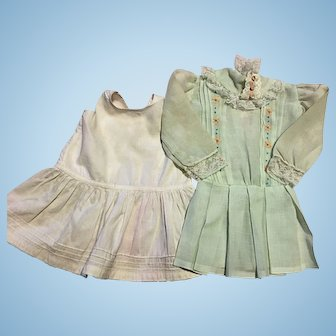 Light Green Batiste Dress with Embroidery for Bisque Dolls