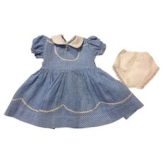Blue and White Polka Dot Dress and Underwear 1950s