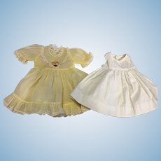 Yellow Organdy Dress and Slip For Hard Plastic and Composition Dolls