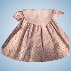 Pink Print Baby Dress and Chick Bib for Dy-Dee Lou and Friends 1950s