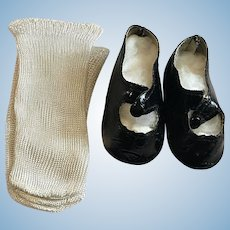Black Leatherette Center Snap Shoes and Rayon Socks 1940
