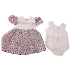 Large Dimity Dress and Onesie for Large Baby and Toddlers 1950s