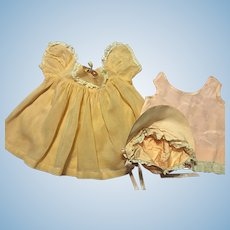 Peach Baby Doll Gown, Slip, and Bonnet 1940s