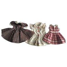 Three Dresses for Hard Plastic Dolls 1950s