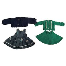 Two Outfits for 14 inch Hard Plastic Dolls 1950s