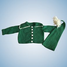 Kelly Green Sweater And Cap for Dy-Dee Lou and Friends 1950s