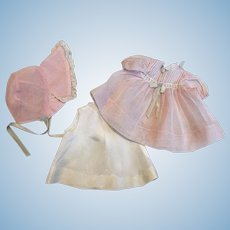 Pink Organdy Dress and Bonnet Tiny Tears and Friends 1950s