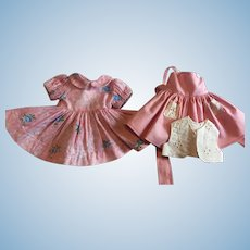 Two Pink Dresses for Hard Plastic Dolls 1950s