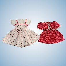 Two Vintage Polka Dot Dresses for Hard Plastic Dolls 1950s