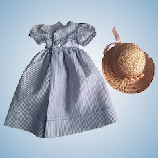 Pin Striped Blue and White Dress and Hat for Composition Dolls 1930s