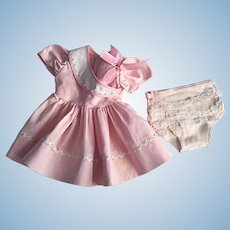 Pink Dress and Underwear for Hard Plastic Dolls 1950s