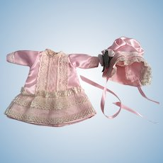 Dress and Bonnet for Small Bisque Dolls