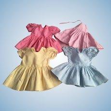 Four Dresses for Hard Plastics Dolls 1950s