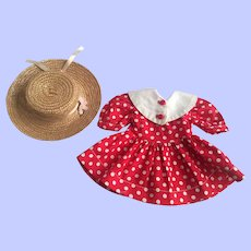 Dress and Straw Doll Hat 1950s