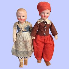 Boy and Girl Composition and Cloth Dolls 1930s