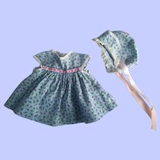 Two Piece Dress and Bonnet for Composition Dolls 1940