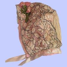 Antique Silk Doll Bonnet 1900