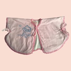 Pink and White Gingham Bed Jacket with kitten Embroidery 1940