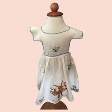 Vintage Embroidered Needlepoint Child's Apron 1920s