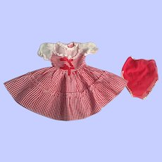 Red and White Taffeta Doll Dress for Hard Plastic Dolls 1950s