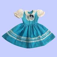 Turquoise Blue Dress for Large Hard Plastic Dolls 1950s