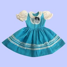 Turquoise Blue Dress for Large Hard Plastic Dolls 1950s