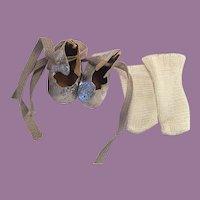 Silver Lame Ice Skates and Rayon Socks 1950s