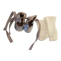 Silver Lame Ice Skates and Rayon Socks 1950s