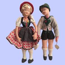 Germany Garmisch Cloth Doll Set Excellent