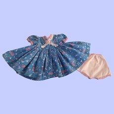 Blue Print Doll Dress and Underwear 16-18 inch dolls 1950s