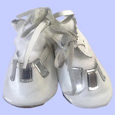 White Leather Doll Shoes for Composition and Bisque Dolls