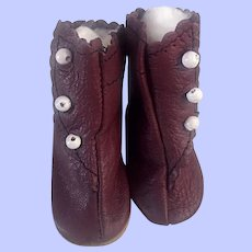 Burgundy Boots for Bisque Dolls