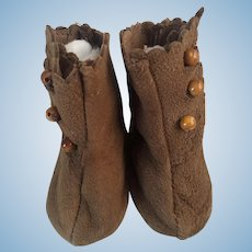Brown Boots for Bisque Dolls