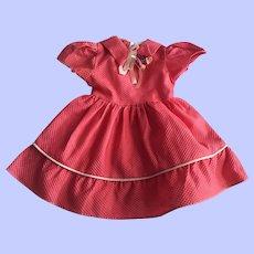 Pink Pique Dress for Hard Plastic Dolls 1950s