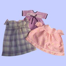 Three Dresses for Composition Toddler and Mama Dolls 1930s