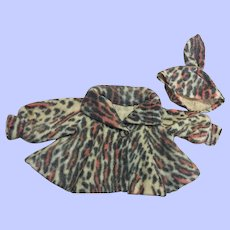 Fashion Faux Fur Leopard Swing Jacket and Hat 1950s