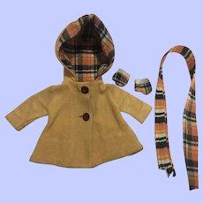 Effanbee Patsy Doll Coat, Scarf, Gloves 1930s