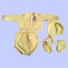 Five Piece Yellow Sweater Outfit for Dy-Dee Baby and Friends