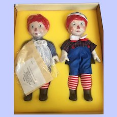 Mint in Box Ideal Porcelain Raggedy Ann and Andy
