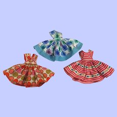 Three Colorful Fashion Doll Dresses for Little Miss Revlon and Friends 1950s