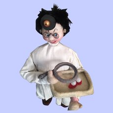 """Vintage Character Klumpe Cloth Doll """"Eye Doctor"""""""