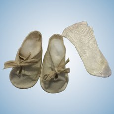Oilcloth Doll Shoes and Rayon Socks 1940s