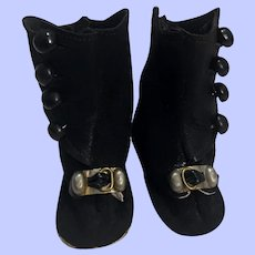 Black Suede Boots for Bisque Dolls